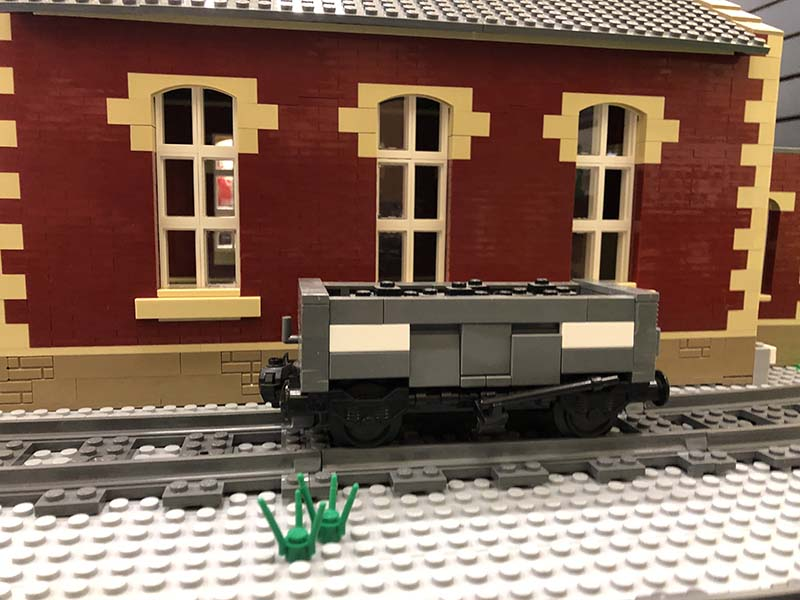 LEGO model of 21t Steel Mineral wagon (MEO). British Railways